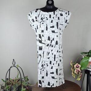 ANTHRO NUMPH Dress Black White Midi Geometrical